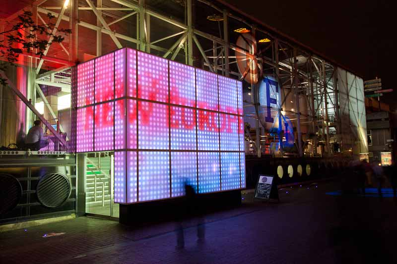 The BFI lightbox, entrance to the main foyer and box office.