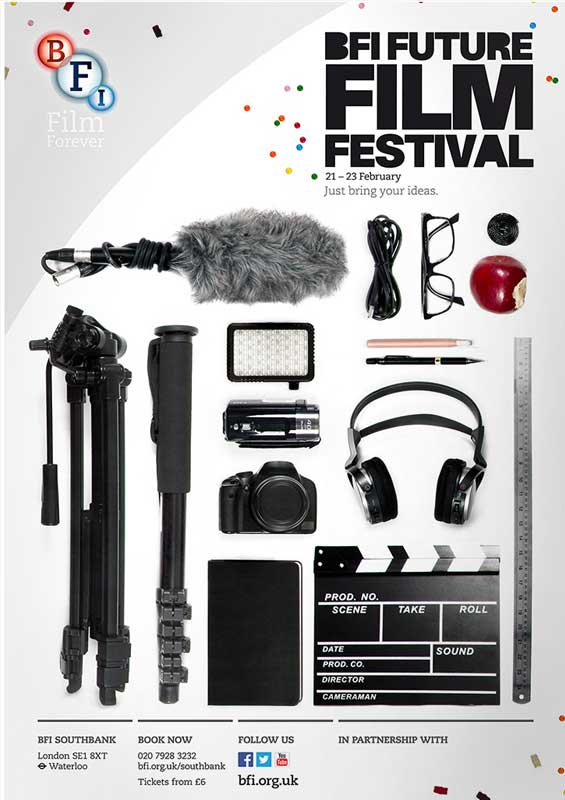 The final poster designed by Dhiren Patel, promoting the 2014 BFI Future Film Festival, held at BFI Southbank, London, 21-23 February 2014.