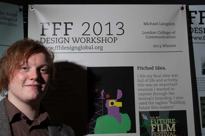 Michael Langdon standing proud next to his exhibition stand at the Future Film Festival, FBFI Southbank, London February 2013.